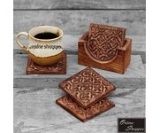 Onlineshoppee Wood Floral Hand Carved Tea Coaster Set of 4 Plate with Stand