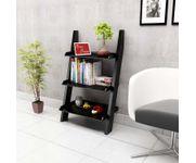Onlineshoppee  Escalera Leaning Bookcase Ladder and Room Organizer Engineered Wood Wall Shelf   - Black
