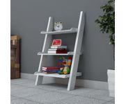 Onlineshoppee  Escalera Leaning Bookcase Ladder and Room Organizer Engineered Wood Wall Shelf   - White