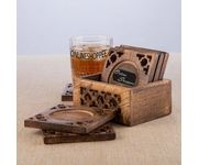 Onlineshoppee Wood Hermosa Tea Coaster Set of 6 Plate with Stand
