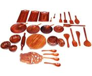 Onlineshoppee Wooden 33 pcs Dinner Set  Kitchen Mix Tools Set