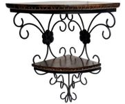 Onlineshoppee  Wooden & Wrought Iron Wall Bracket  Size (LxBxH-14x9.5x18) Inch