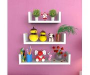 Onlineshoppee MDF Handicraft Wall Decor U-shaped Designer Wall Shelf Pack of 3 - White