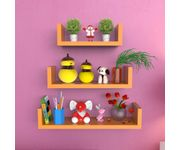 Onlineshoppee MDF Handicraft Wall Decor U-shaped Designer Wall Shelf Pack of 3 - Orange
