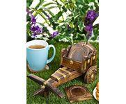 Wooden Tea Coffee Coaster Set CART shape Office Home decor Dining accessory