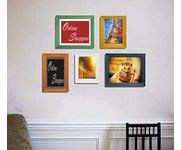 Onlineshoppee Hasin set of 5 colorfull individual pure wood photo frames (Multicolor)