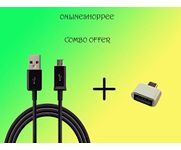 Onlineshoppee Combo Of Micro Usb Otg Adaptor And Usb Data Cable (Pack Of 2 Pc,Color May Vary)