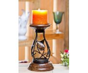 Wood Carvers Wooden Candle Stand Leaf Design