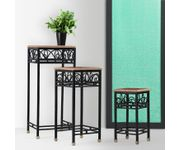 Onlineshoppee Wooden And Iron End Table Walnut And Black Size(Large-28.5,Medium-22 ,Small-15.5) Inch