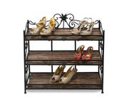 Onlineshoppee Wooden & Iron beautiful Fancy Design Shoe Rack With 3 Compartment For Home Decor