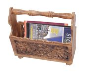 Onlineshoppee Wooden Magazine Holder  With Jaali Work Size(LxBxH-15x6x14) Inch