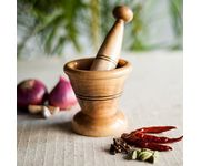 Onlineshoppee Wooden Spice Mortar & Pestle / Masher In Natural Brown Size(LxBxH-3.7x3.7x3.9) Inch