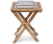 Onlineshoppee Wooden Antique Foldable Table With Hand Carving Work Size(LxBxH-15x15x18) Inch