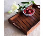 Onlineshoppee Fancy Design Kitchen Ware Sheesam Wood In Engraved Wood Tray Size(LxBxH-13.9x9.0x2.2) Inch