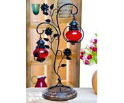 "Onlineshoppee Attractive Glass with Metal Red Colored Leaf Design candle Stand (11""x8""x22"")"