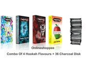 Onlineshoppee combo pack of 4 hookah flavours,36 coal disc