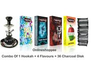 Onlineshoppee combo pack of 1 Black hookah,4 flavours,36 coal disk