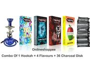 Onlineshoppee combo pack of 1 Blue hookah,4 flavours,36 coal disk