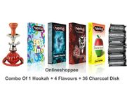 Onlineshoppee combo pack of 1 Red hookah,4 flavours,36 coal disk