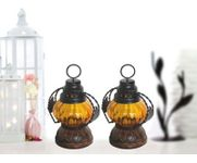 Onlineshoppee Yellow Wooden, Glass Lantern Size(LxBxH-5x5x7) Inch Pack Of 2