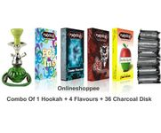 Onlineshoppee combo pack of 1 Green hookah,4 flavours,36 coal disk