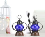 Onlineshoppee Blue Wooden, Glass Lantern Size(LxBxH-5x5x7) Inch Pack Of 2