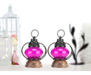 Onlineshoppee Pink Wooden, Glass Lantern Size(LxBxH-5x5x7) Inch Pack Of 2