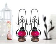 Onlineshoppee Red Wooden, Glass Lantern Size(LxBxH-5.25x5.25x13.5) Inch Pack Of 2