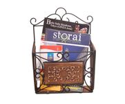 Onlineshoppee Wooden & Iron Magazine Holder With Handcarving Work Size(LxBxH-11x4x15) Inch