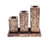 Onlineshoppee Wooden Antique Rusted Look Candle Holder