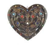 Onlineshoppee Wooden Key Holder In Heart Shape With Handicraft Design
