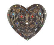 Onlineshoppee Wooden Key Holder In Heart Shape With Handicraft Design Size-lxbxh-11.5x1x11.5 Inch