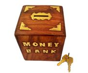 Onlineshoppee Woooden With Brass Work Antique Money Bank Size-3.5x3.5x4.5 Inch