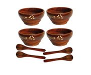 Onlineshoppee Wooden Bowls & Spoons Set Of 4 Size-LxBxH-4x4x2 Inch