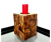 Onlineshoppee Wooden Antique Tea light Holder Square Shape Size-LxBxH-6.5x6.5x8 Inch