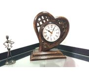 Onlineshoppee Wooden Heart Shape Table Clock Size-LxBxH-8x4x10 Inch