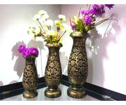 Onlineshoppee Wooden Antique Flower Vase With Hand Carved Design Pack Of 3