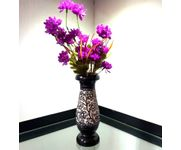 Onlineshoppee Wooden Antique Flower Vase With Hand Carved Design