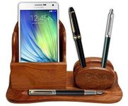 Onlineshoppee 2 Compartments Wooden Mobile Cum Pen Holder Size-lxbxh-8.5x6x3.5 Inch