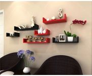 Onlineshoppee MDF Handicraft Wall Decor U-shaped Designer Wall Shelf Pack of 6  - Black & Red