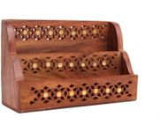 Onlineshoppee Wooden Magazine Holder  With Jaali Work Size(LxBxH-8x3x5) Inch