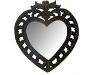 Onlineshoppee Wooden Antique With Handicraft Work Heart Design  Mirror Frame Size(LxBxH-12x1x14) Inch