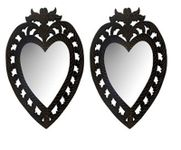 Onlineshoppee Wooden Antique With Handicraft Work Heart Design  Mirror Frame Size(LxBxH-12x1x14) Inch Pack Of 2