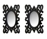 Onlineshoppee Wooden Antique With Handicraft Work Fancy Design  Mirror Frame Size(LxBxH-9x1x12) Inch Pack Of 2