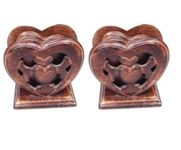 Onlineshoppee Wooden Handicrafts Heart Shape Coaster Set Size (LxBxH-4x3.5x4.5) Inch Pack Of 2