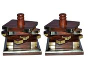 Onlineshoppee Wooden High Finish Coaster Set Pack Of 2