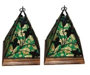 Onlineshoppee Contemporary Wooden & Wrought Iron Lamp Handmade Antique Look - Green Pack Of 2