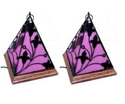 Onlineshoppee Contemporary Wooden & Wrought Iron Lamp Handmade Antique Look - Purple Pack Of 2