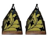 Onlineshoppee Contemporary Wooden & Wrought Iron Lamp Handmade Antique Look - Yellow Pack Of 2