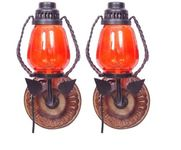 Onlineshoppee Wooden & Iron Fancy  Wall Hanging Electric Chimney Lamp  Sise(LxBxH-6x5x11)  Inch, Color  Orange Pack Of 2